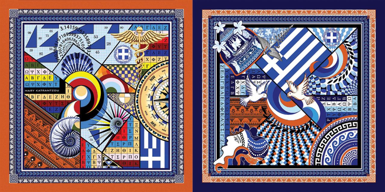 Δύο από τα τρία σχέδια των μεταξωτών φουλαριών που σχεδίασε η Mary Katrantzou για την ΠτΔ, Κατερίνα Σακελλαροπούλου