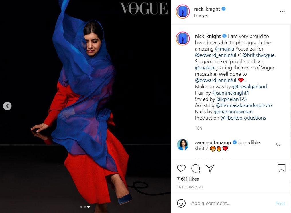 Ο φωτογράφος Νικ Νάιτ δεν κρύβει τον θαυμασμό του για τη Μαλάλα Γιουσαφζάι, την οποία απαθανάτισε για τη βρετανική Vogue
