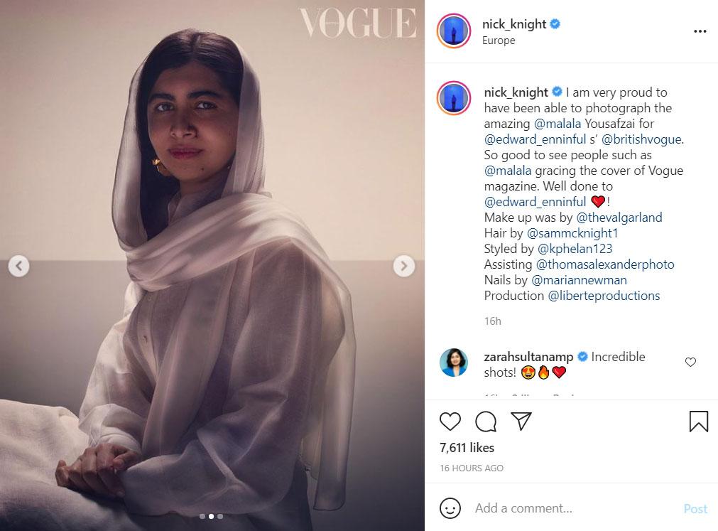 Η Μαλάλα Γιουσαφζάι φωτογραφίζεται για τη βρετανική Vogue
